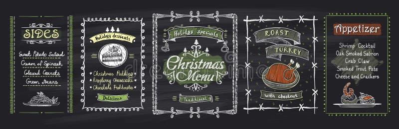Projetos do quadro-negro do menu do Natal do giz ajustados Ilustração tirada mão do vetor com menu dos feriados ilustração do vetor