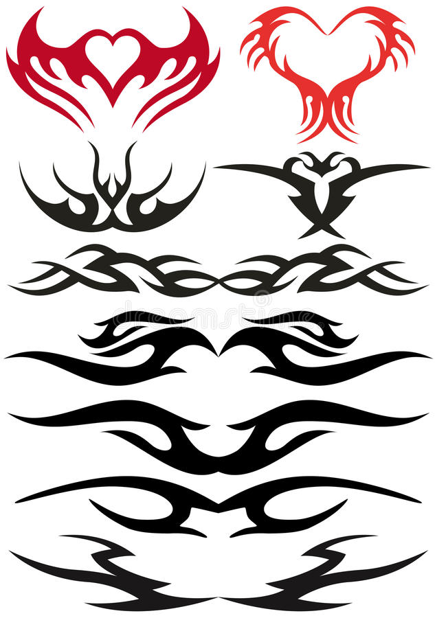 Projetos do tatuagem ilustração stock