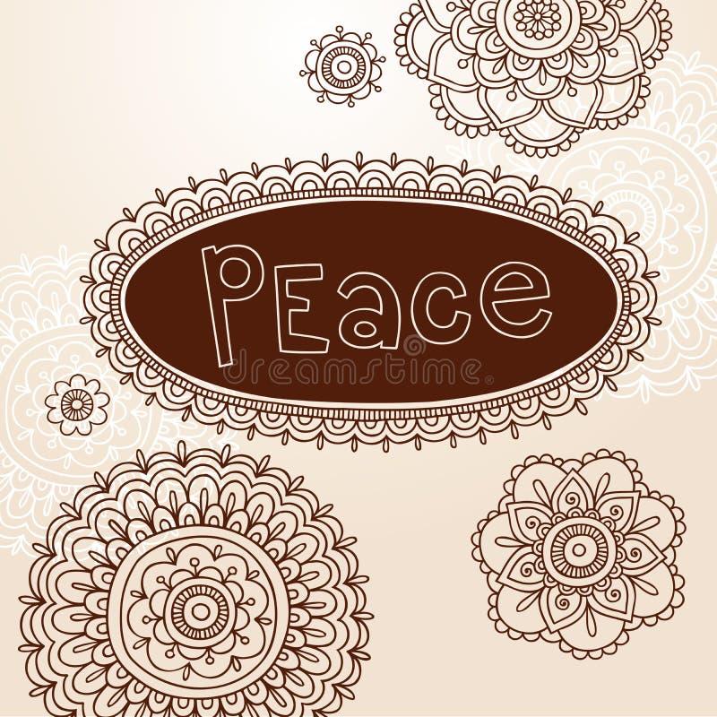 Projetos do vetor do Doodle do frame e da flor do Henna ilustração royalty free