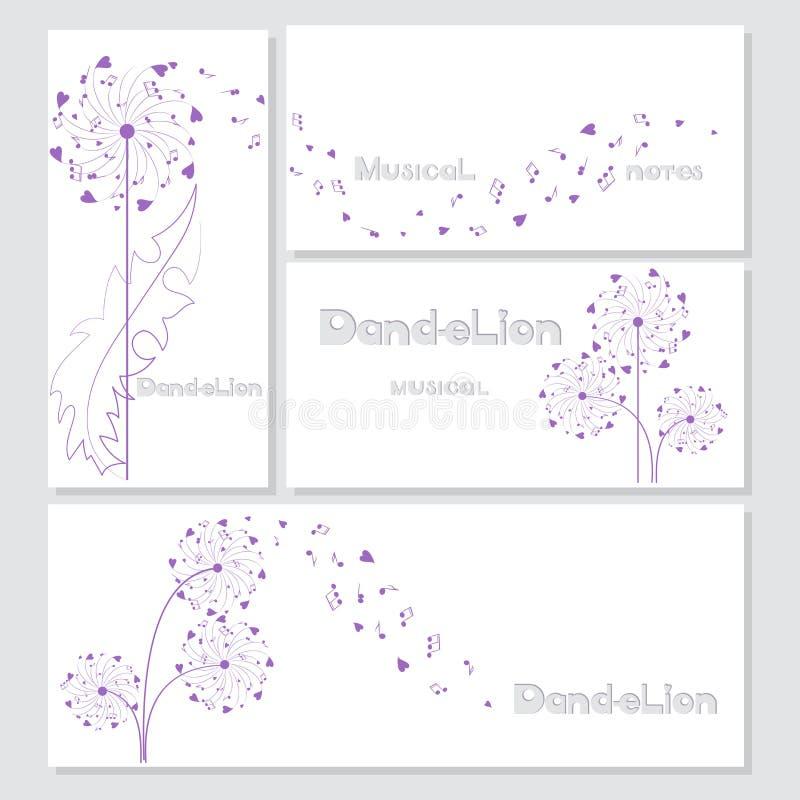 Projetos dos cartão com dentes-de-leão musicais ilustração royalty free
