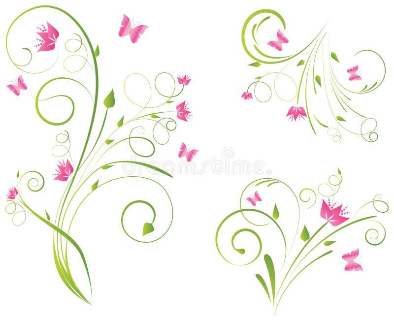 Projetos e borboletas de Florals ilustração royalty free
