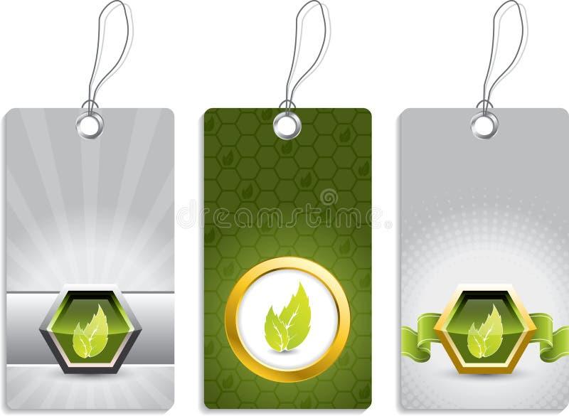 Projetos ecológicos da etiqueta ilustração royalty free