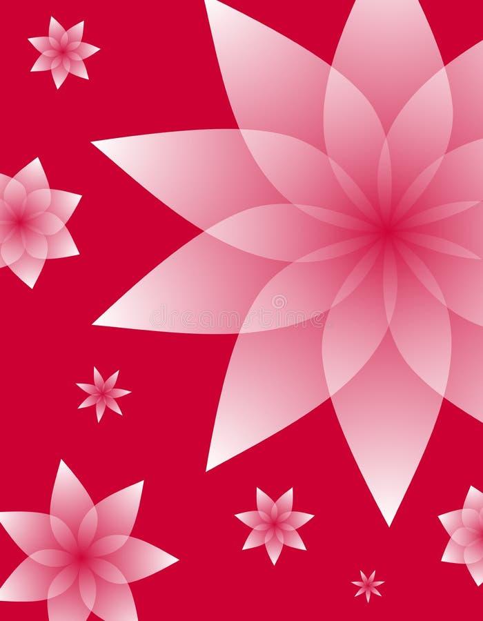 Projetos florais cor-de-rosa no fundo vermelho ilustração royalty free