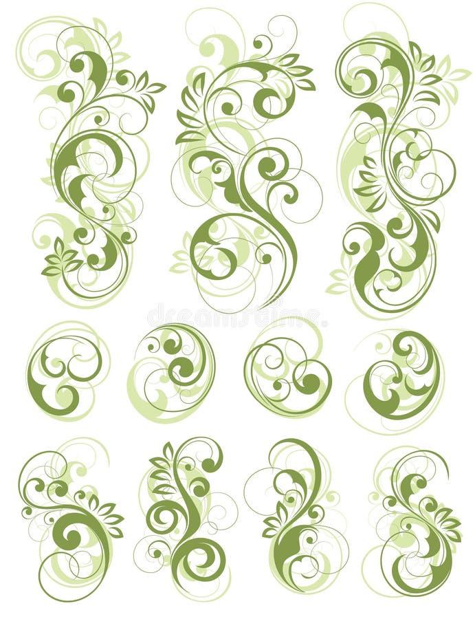 Projetos florais verdes no branco ilustração royalty free
