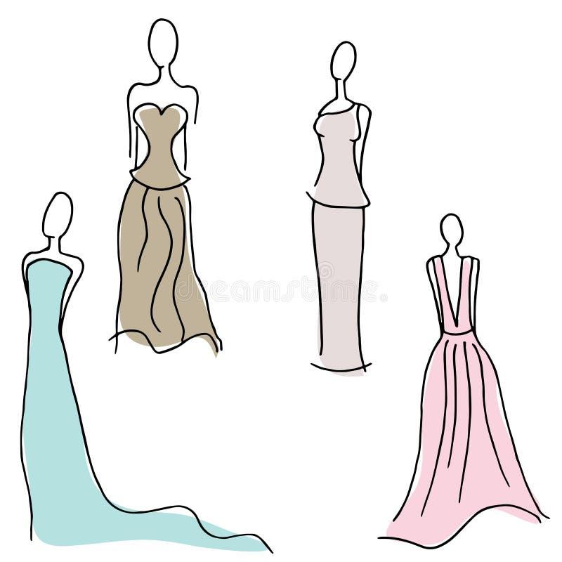 Projetos formais do vestido ilustração do vetor