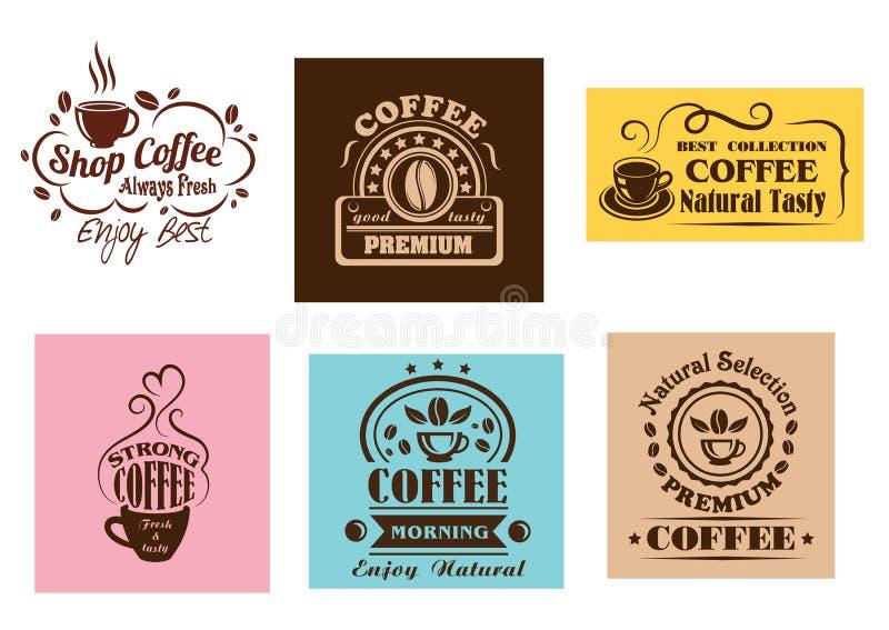 Projetos gráficos da etiqueta criativa do café ilustração stock