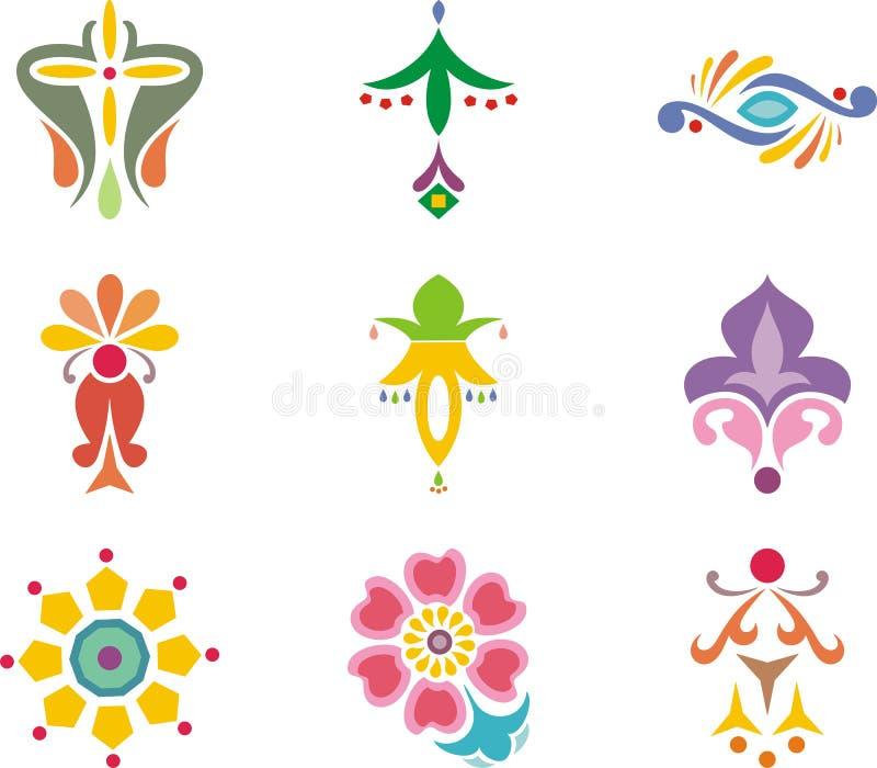 Projetos indianos do ornamental ilustração stock