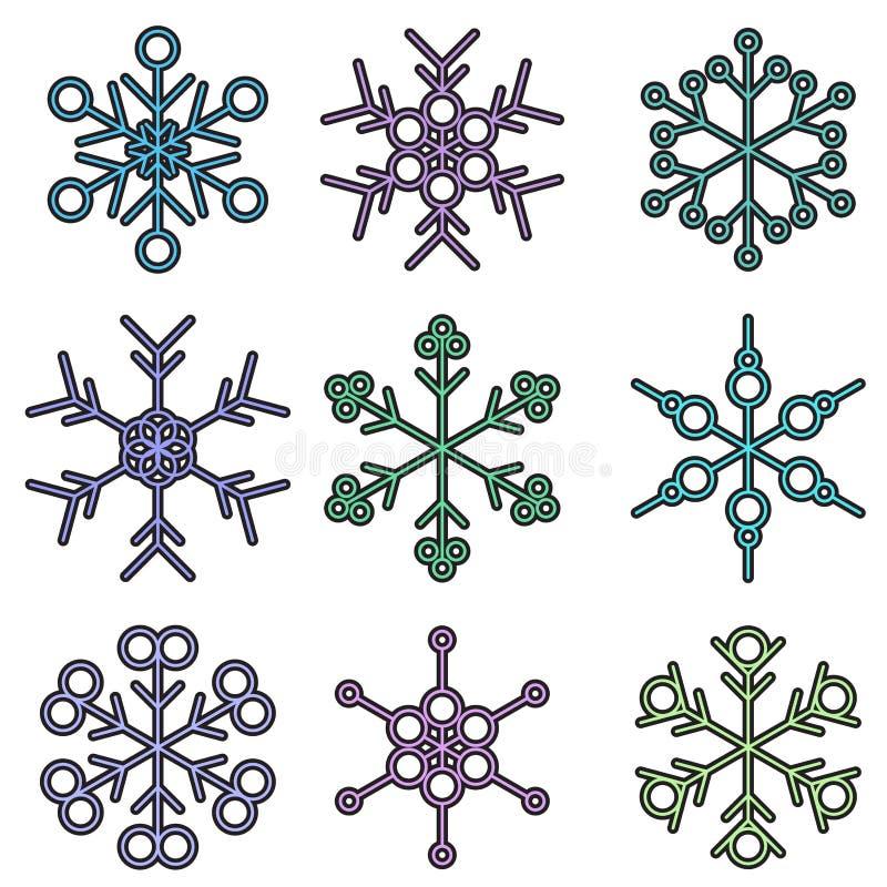 Projetos isolados bold(realce) do floco de neve ilustração royalty free