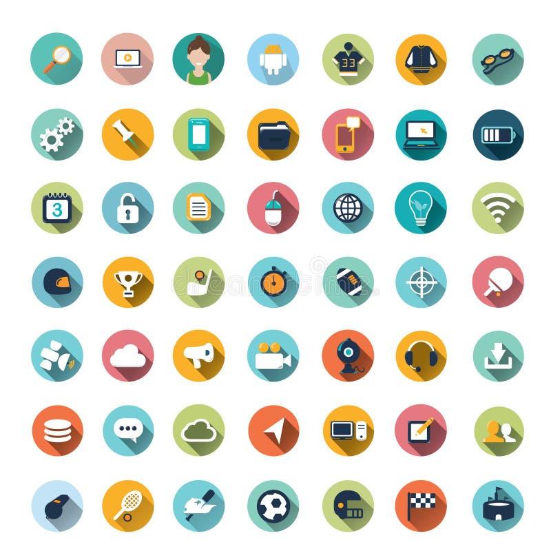 Projetos lisos do ícone, ícones ajustados ilustração stock