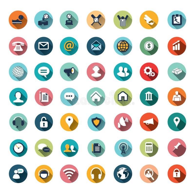Projetos lisos do ícone, ícones ajustados ilustração do vetor