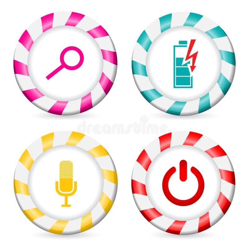 Projetos listrados do botão com vários ícones ilustração do vetor