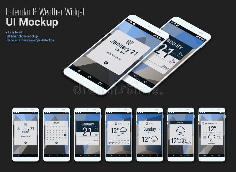 Projetos móveis dos Widgets UI do App do calendário com modelos de Smartphone ilustração stock