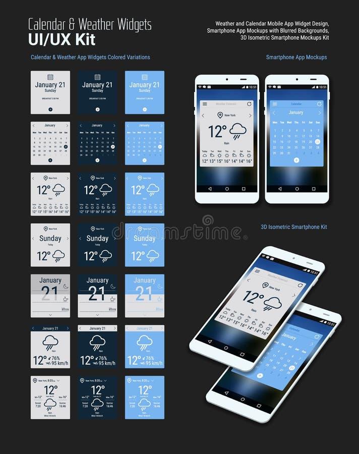 Projetos móveis dos Widgets UI do App do calendário e do tempo com modelos de Smartphone ilustração royalty free