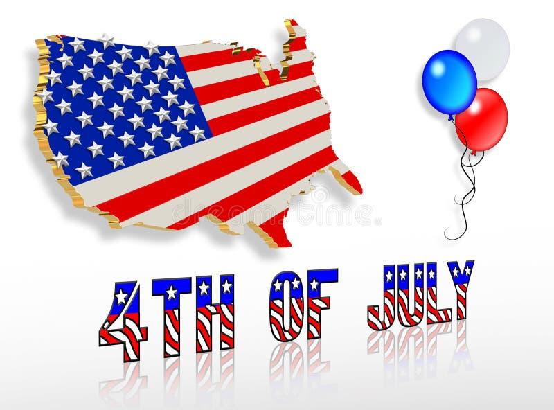 Projetos patrióticos da arte de grampo 3D julho de ô ilustração stock