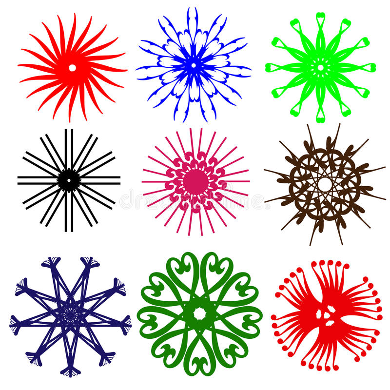Projetos redondos florais da cor da arte da flor ilustração stock