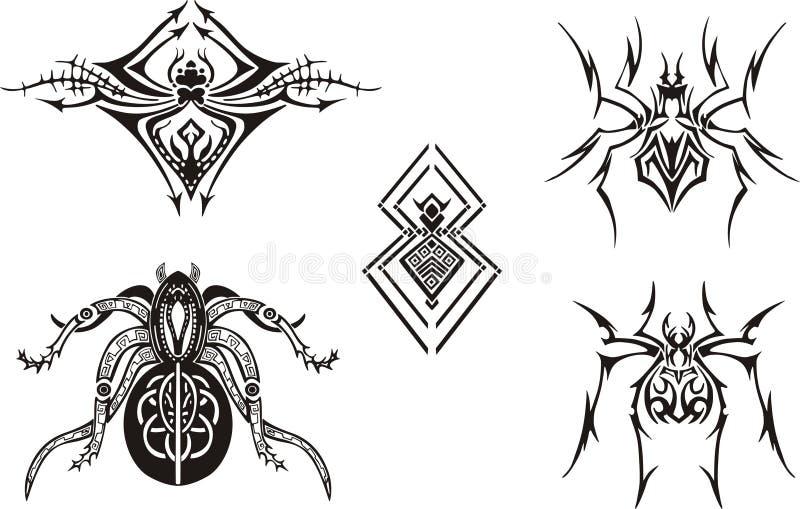 Projetos simétricos da aranha ilustração do vetor
