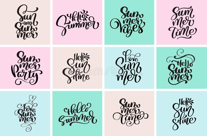 Projetos tipográficos ajustados do verão do olá! Moldes caligráficos tirados mão do projeto do texto do vetor Logotipos da estaçã ilustração royalty free