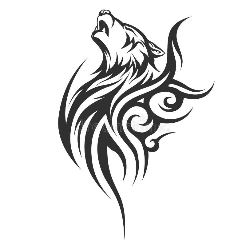 Projetos tribais do lobo da tatuagem ilustração royalty free