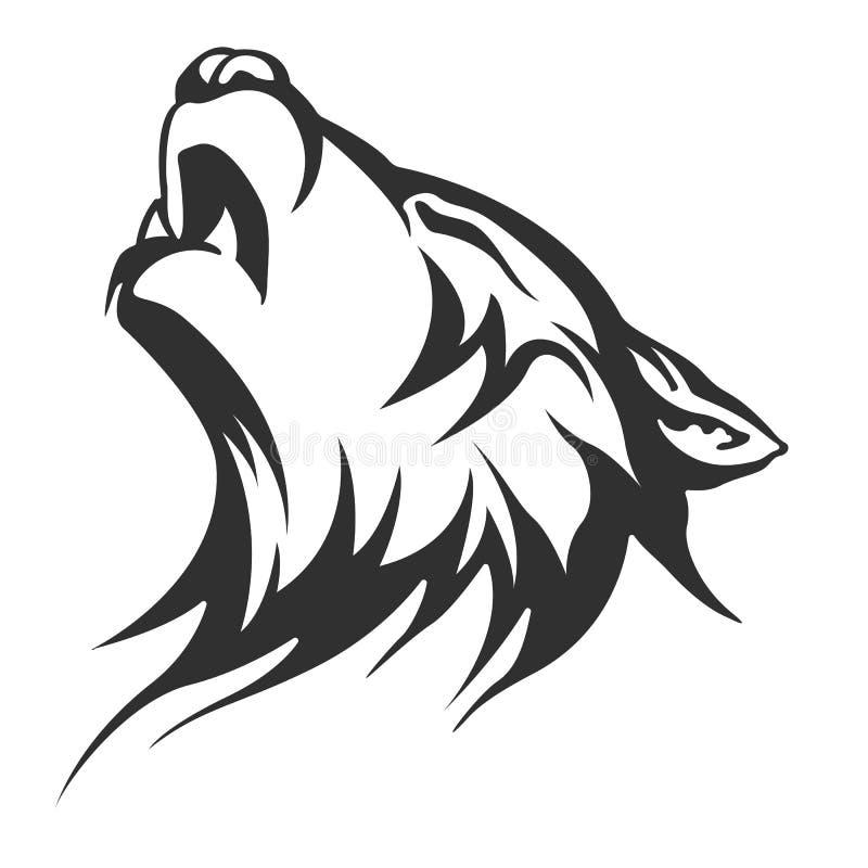 Projetos tribais do lobo da tatuagem ilustração do vetor