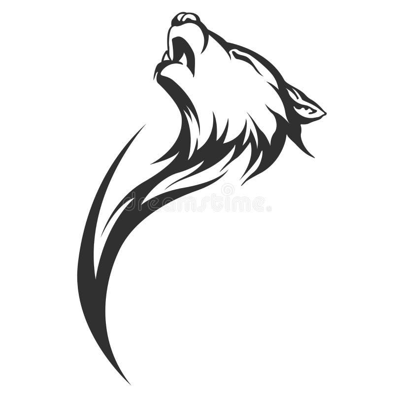 Projetos tribais do lobo da tatuagem ilustração stock