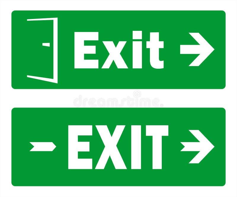 Projetos verdes do molde do sinal da saída - saída de emergência - bloco de dois vetores ilustração do vetor