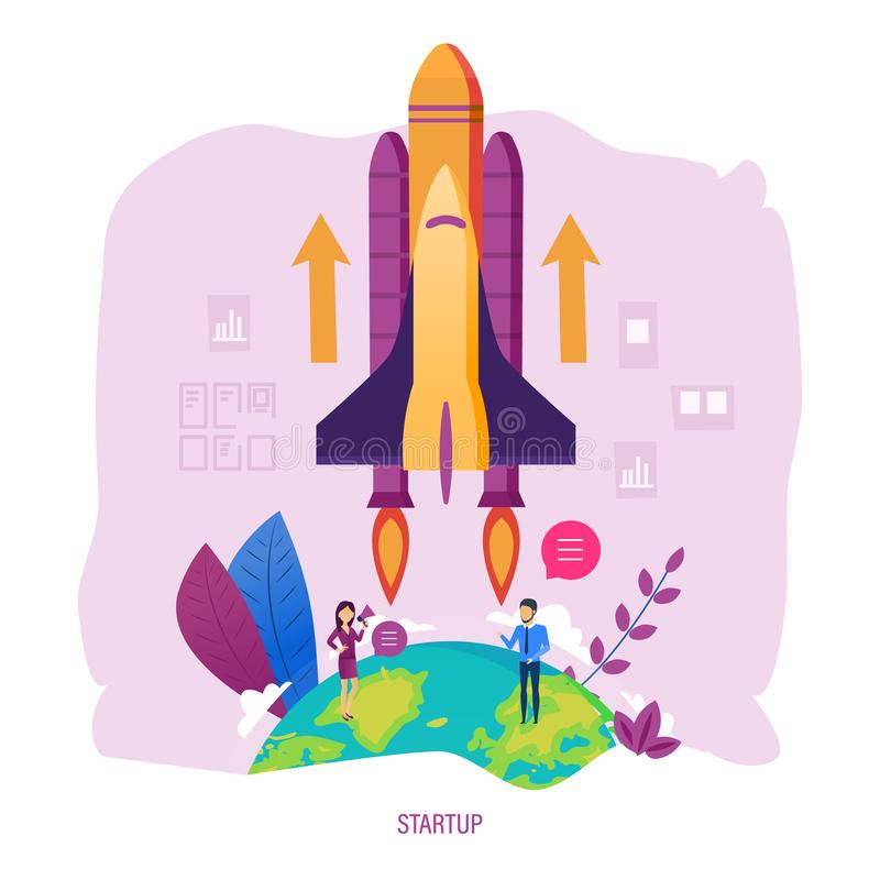 Projets de démarrage Investissements et solutions, développement des affaires, idées créatives illustration stock