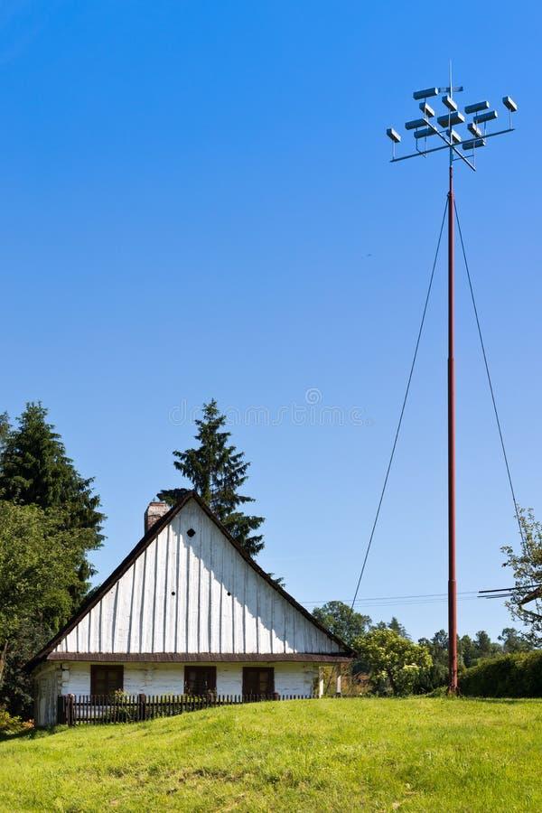 Prokop Divis inventore di casa nativa di un parafulmine, Zamberk town, East Bohemia, Repubblica ceca immagini stock libere da diritti
