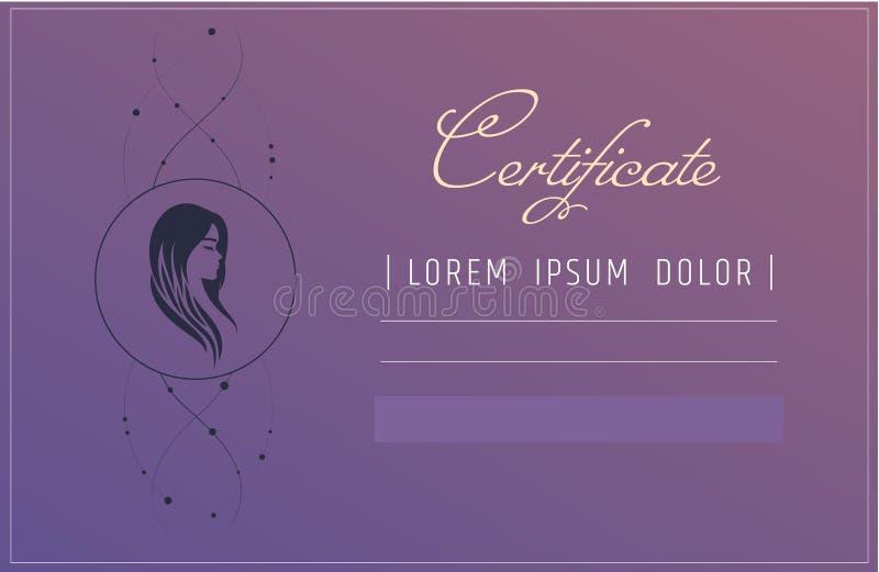 Prolongements de cheveux ou calibre de certificat de coiffeur cours d'école ou de perfectionnement de beauté pour l'esthéticien C illustration libre de droits