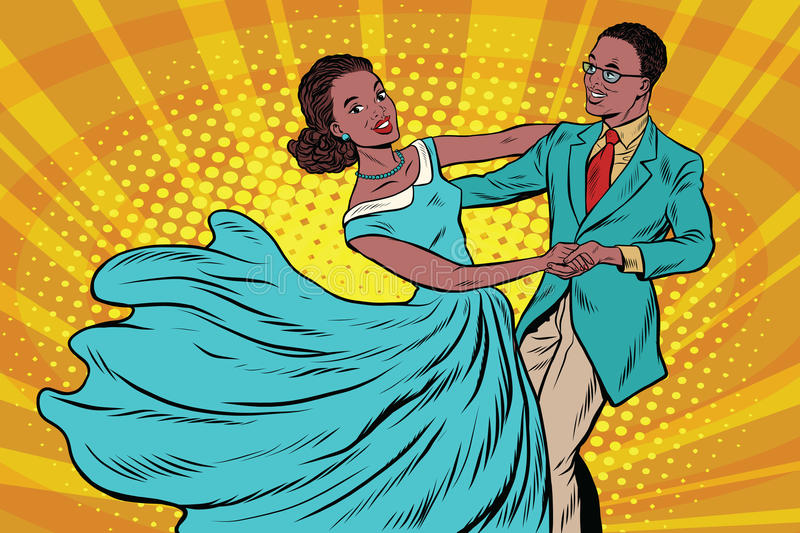 Prom, couple girl and boy dance stock illustration