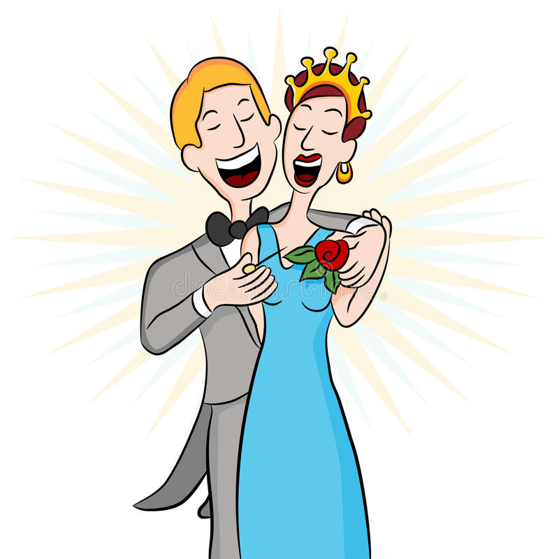 Download Prom Date Pinning The Corsage Stock Vector - Illustration of drawing, dating: 19613396