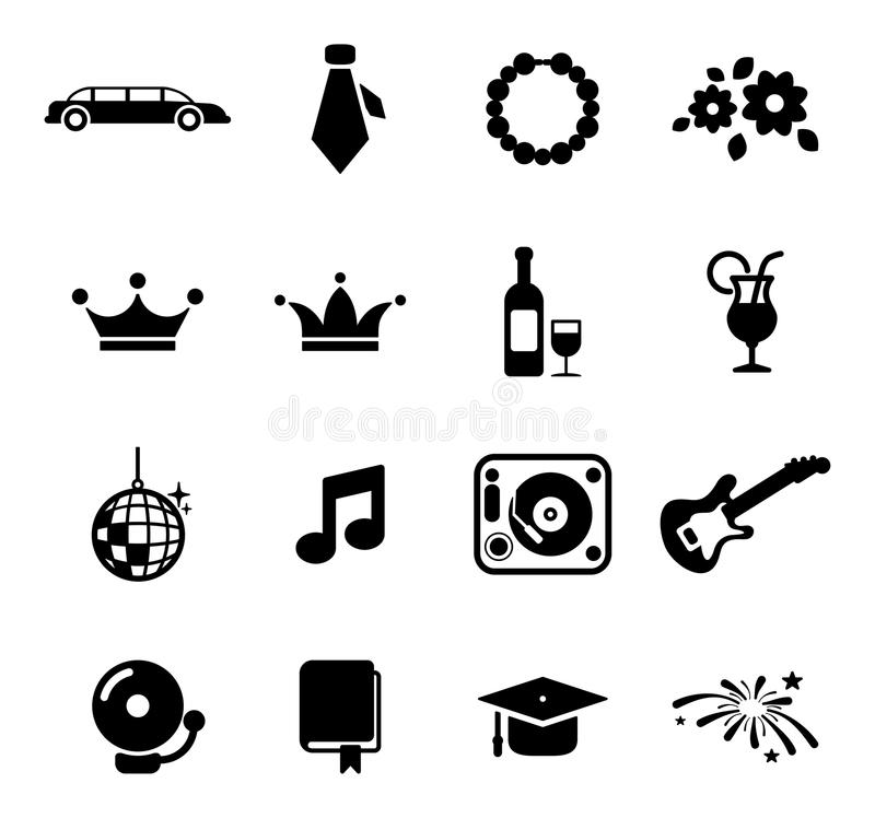 Prom Icons vector illustration