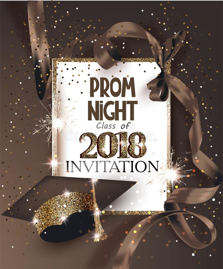 PROM NIGHT 2018 with hat, ribbon, golden frame and confetti. royalty free illustration