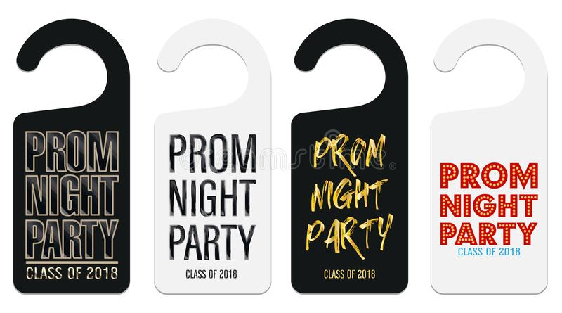 Prom night party room door hanging template vector illustration