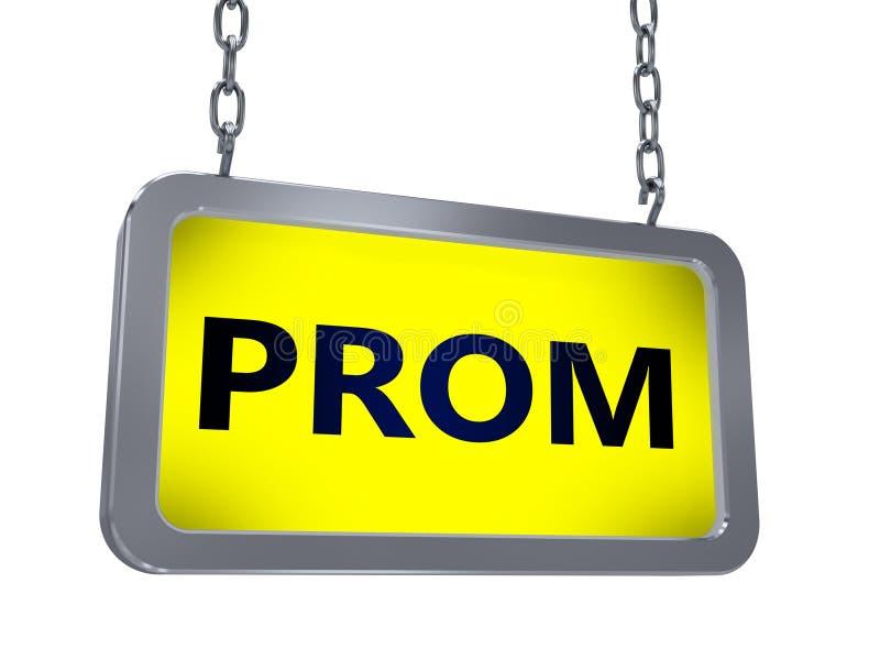 Prom on billboard. Prom on yellow light box billboard on white background vector illustration