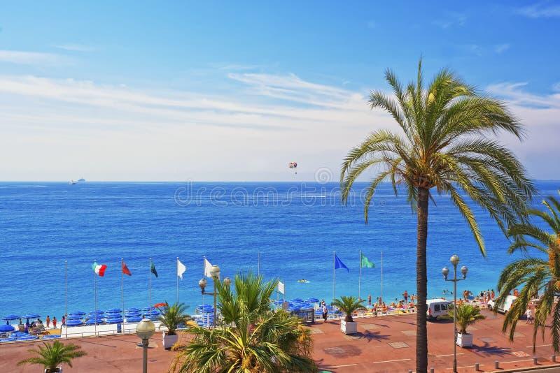 Promenad D Anglais (engelskapromenad) i Nice, Frankrike Fjärden tävlar arkivbild