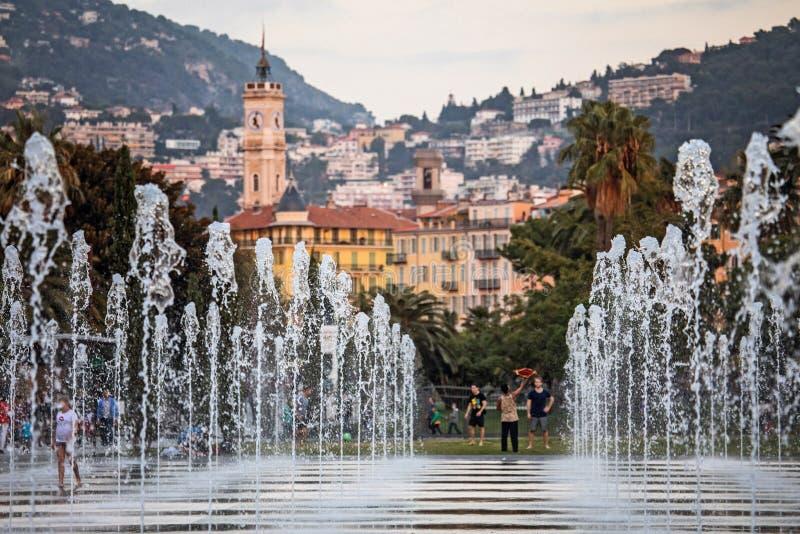 Promenad du Paillon i Nice royaltyfri fotografi