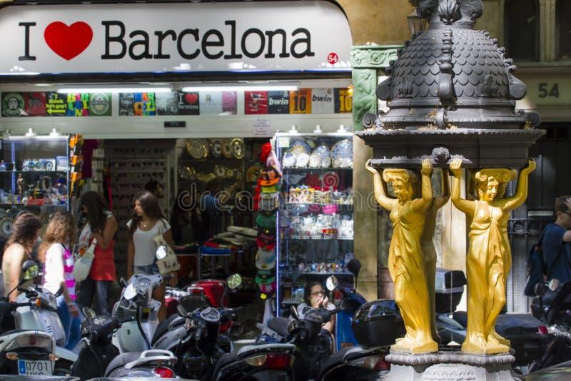 Promenad för LaRambla gata - Barcelona fotografering för bildbyråer