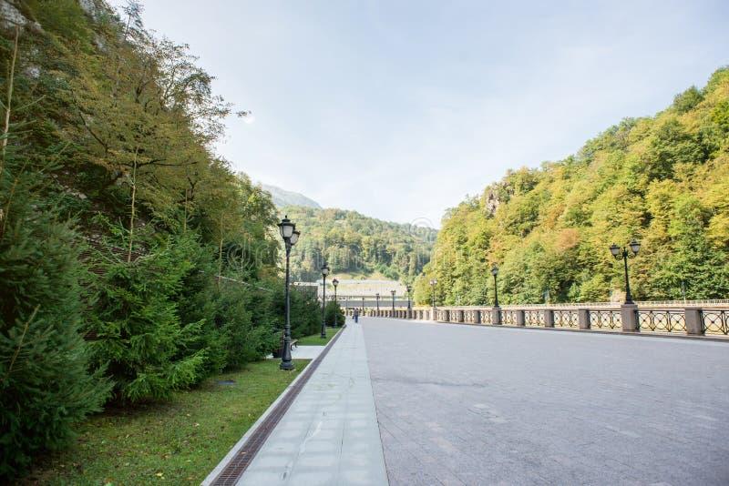 Promenad mellan Rosa Khutor och Esto Sadok Gr?n skog i Sochi arkivfoto