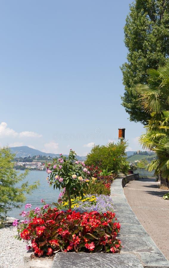 Promenad Montreux Schweiz arkivbilder