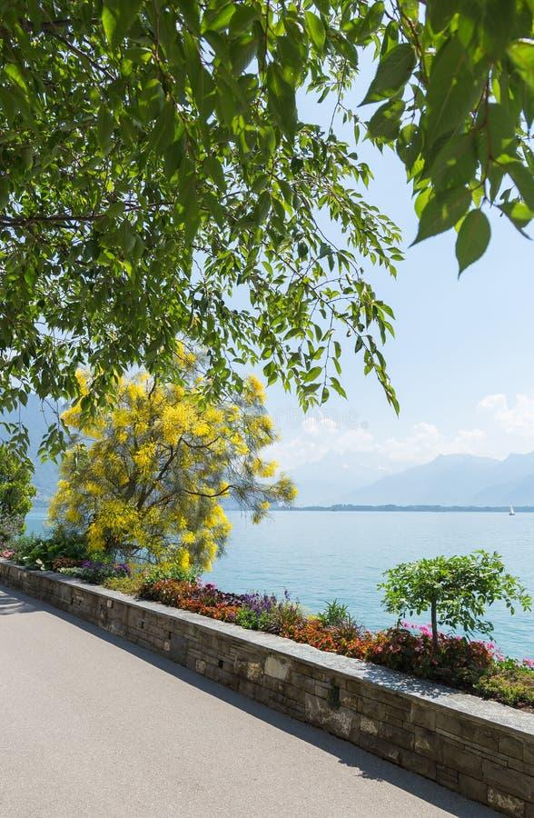 Promenad Montreux VD royaltyfria bilder