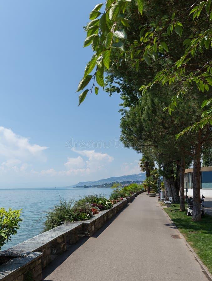 Promenad på Montreux VD arkivfoto