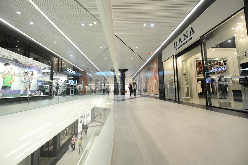 Promenada Shopping Center. People are visiting Promenada Shopping Center, in Bucharest, Romania stock photo