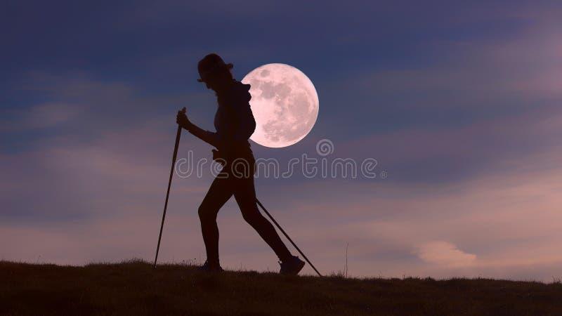 Promenade à la pleine lune photographie stock libre de droits