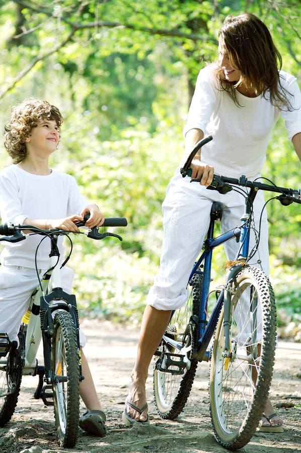 Promenade à vélo en foret lizenzfreie stockbilder
