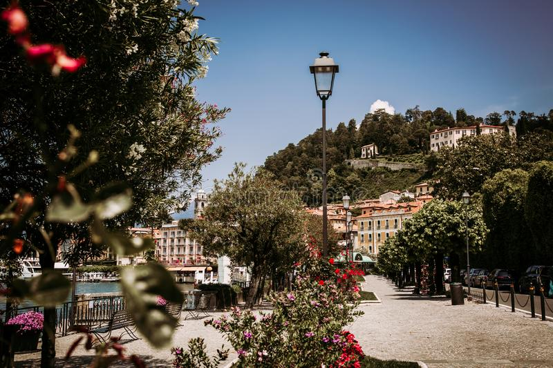Promenade along Lake Como in Bellagio town, Lomabrdy region, Italy stock photos