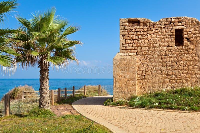 Promenade and ancient tomb in Ashkelon, Israel. Promenade along coast of Mediterranean sea with palms and ancient tomb of unknown shah in Ashkelon, Israel royalty free stock photos