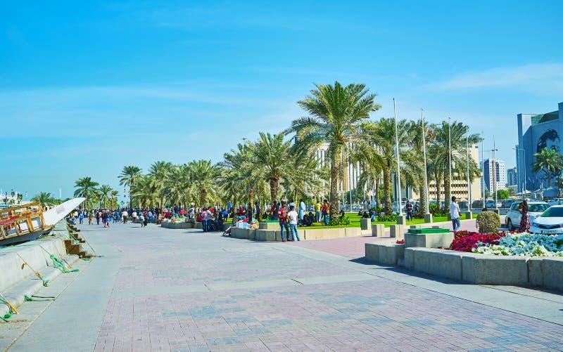 'promenade' apretada en Doha, Qatar imágenes de archivo libres de regalías