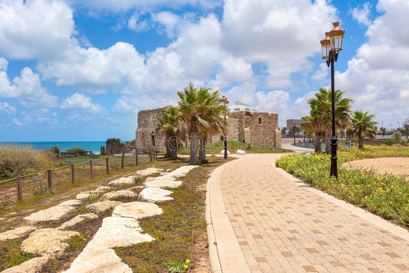 Promenade in Ashqelon, Israel lizenzfreies stockbild