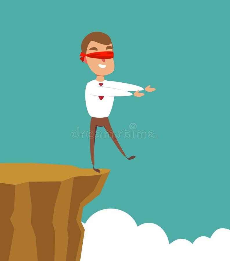 Promenade band?e les yeux d'homme d'affaires ? la falaise Concept d'affaires illustration libre de droits
