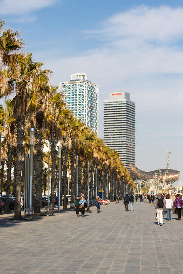 Promenade on Barceloneta beach royalty free stock photos